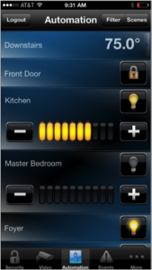 Lighting and temperature automation in Fortress Security's Total Connect home security system smartphone app