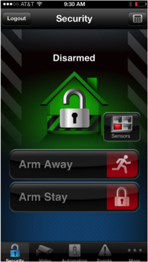 The home screen of Fortress Security's Total Connect home security system smartphone app