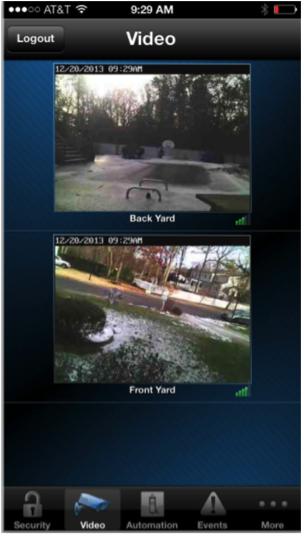 Live home security system video surveillance Fortress Security's Total Connect smartphone app